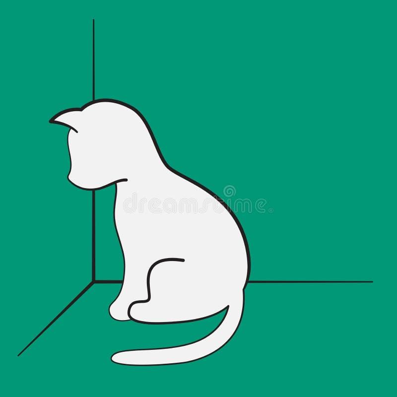 一只有罪小猫坐在角落的,在绿色背景的白色剪影 向量例证