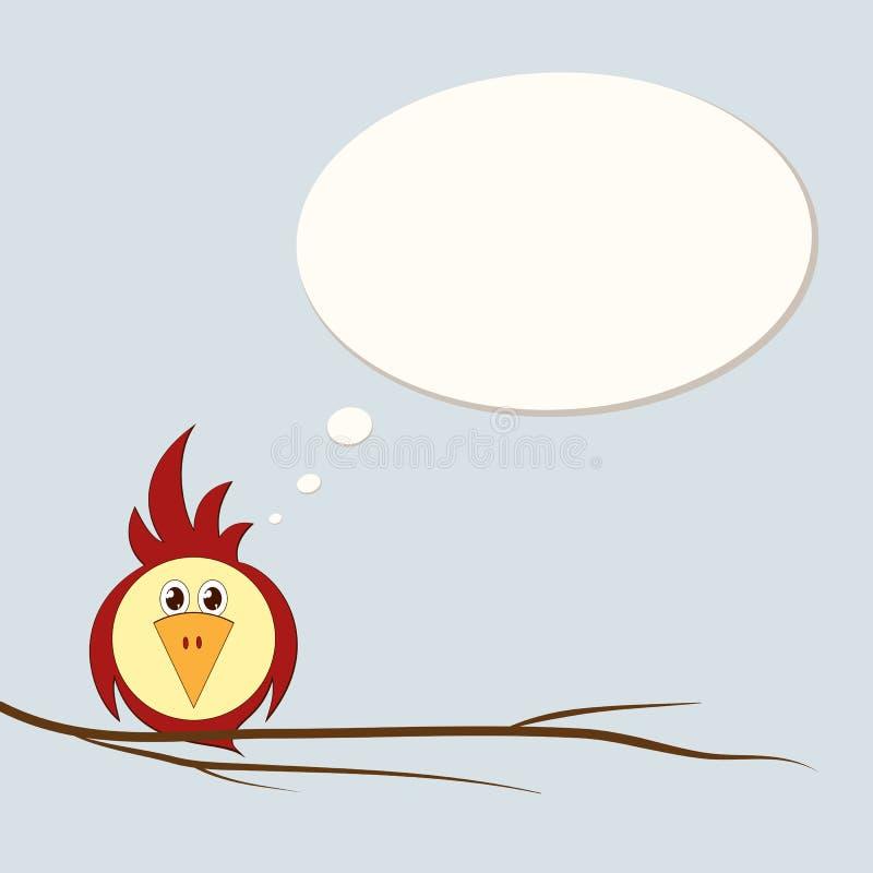 一只滑稽的风格化鸟是一只鹦鹉或一只麻雀在设计的树枝空白模板明信片广告邀请元素 向量例证