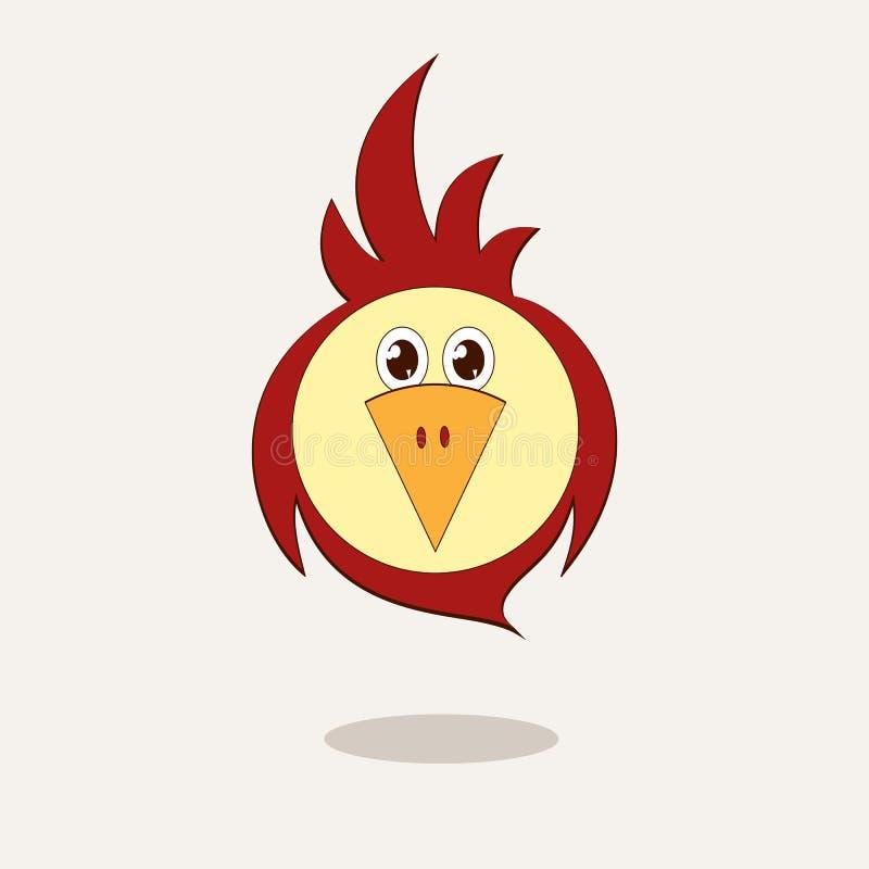 一只滑稽的风格化鸟是鹦鹉或麻雀动画片的字符模板明信片设计的元素  皇族释放例证