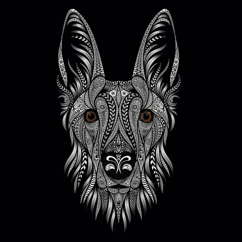 一只牧羊犬的美丽的传染媒介画象从样式的在黑背景 向量例证