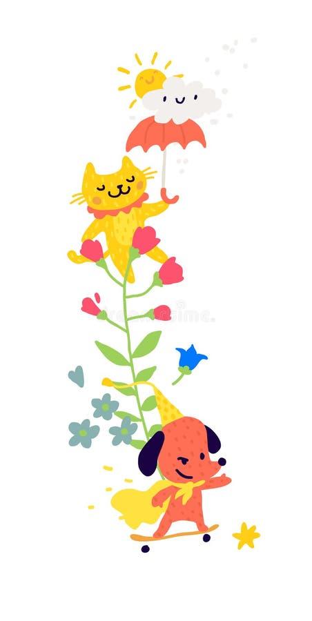 一只猫的例证与一把伞和狗的在滑板 ?? 在花中的动物 儿童的动画片,乱画 库存例证