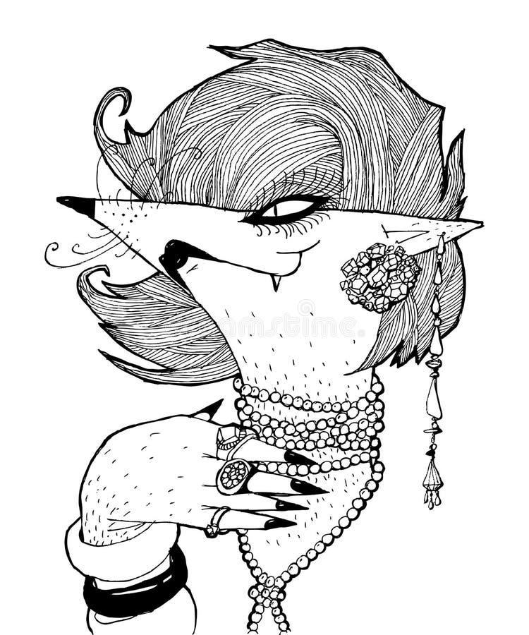 一只白狐的画象与镯子的和小珠和构成 黑白图表,可以用于铅印材料,或者在t 库存例证