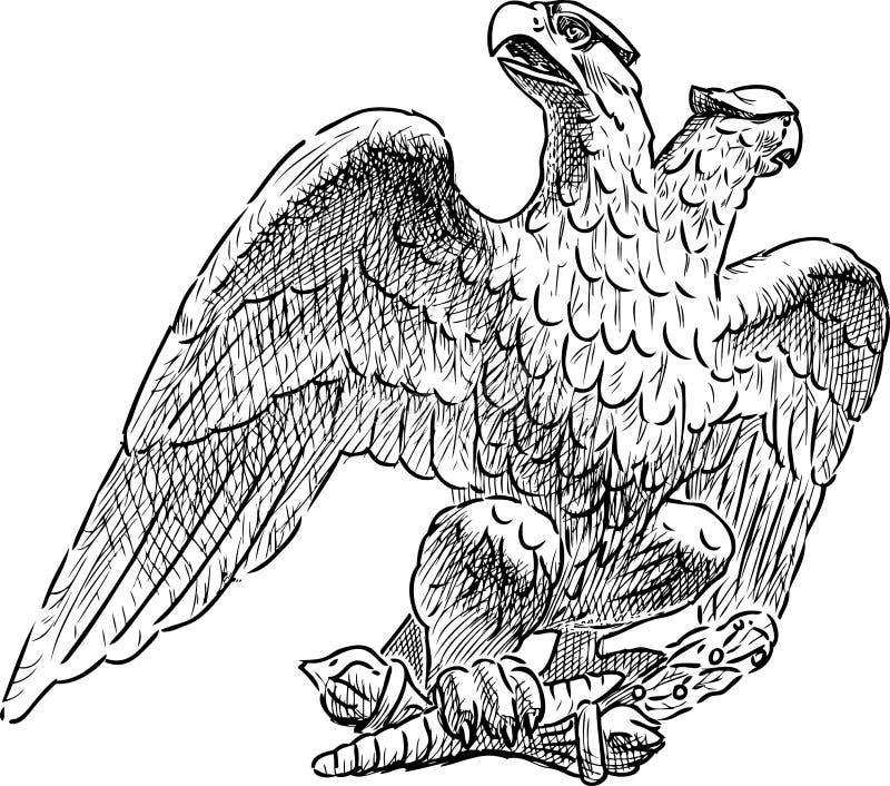 一只皇家两头老鹰的手图画 向量例证