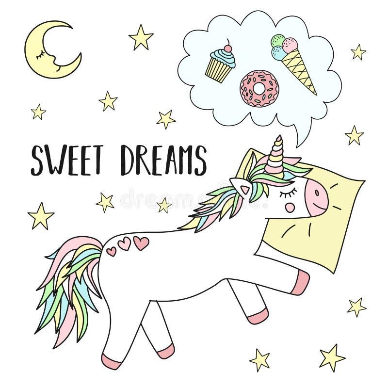 一只睡觉独角兽的传染媒介图象在一个枕头的有星的和月亮和题字晚安 睡眠,假日的概念 向量例证