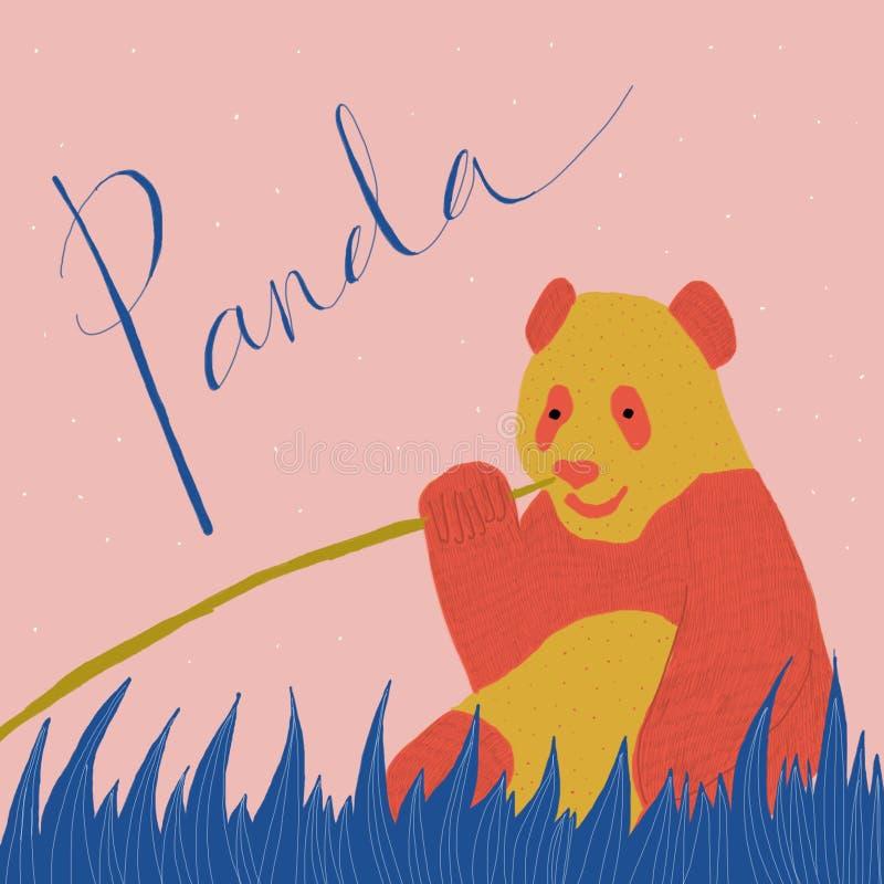 一只红色和橙色熊猫的美丽的五颜六色的图画坐草 库存图片