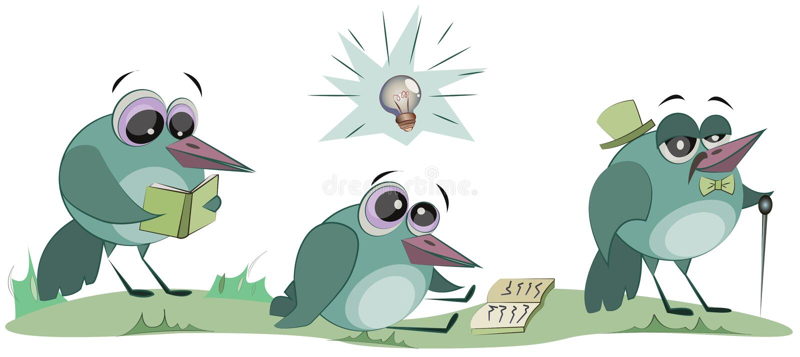 一只聪明的鸟读一本书 快乐的卡通人物 r 库存例证