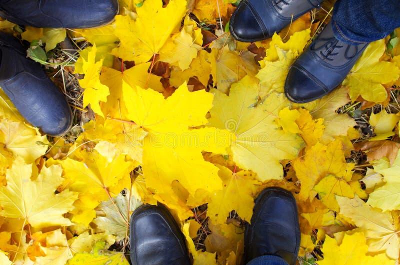 一只脚的顶视图在秋天解雇三个人 库存图片
