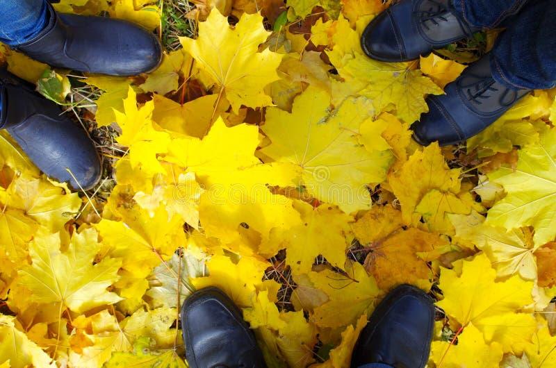 一只脚的顶视图在秋天解雇三口之家人 库存照片