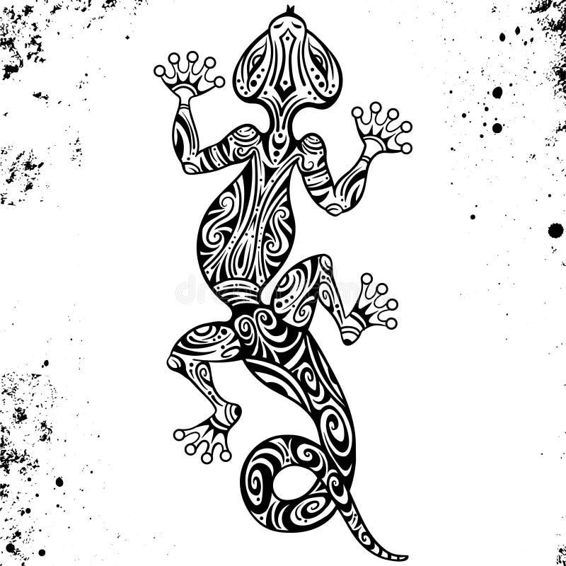 一只蜥蜴或蝾的传染媒介图画与原史澳大利亚的种族样式 在农庄背景 salamandy的图象 皇族释放例证