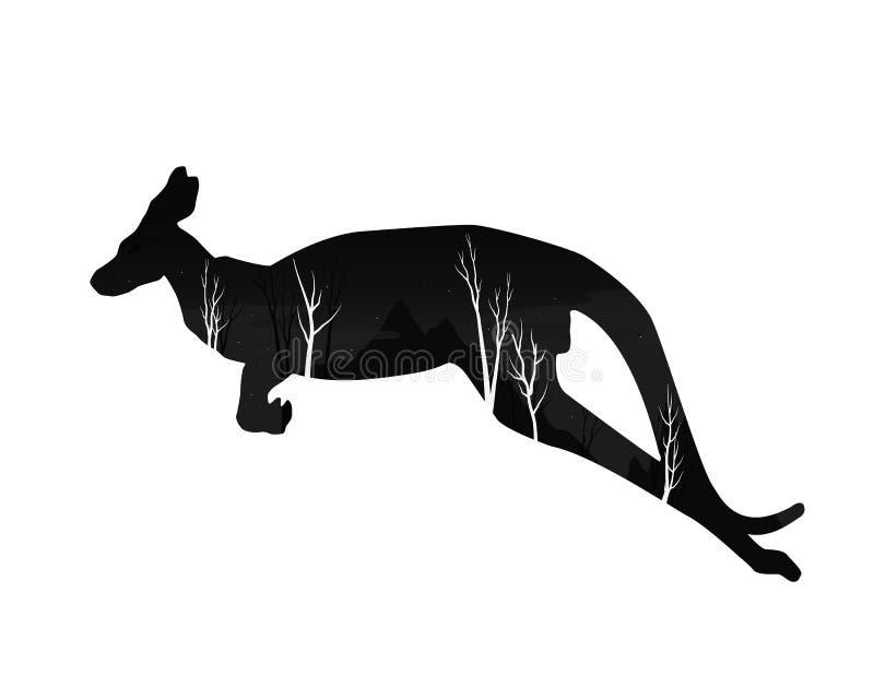 一只袋鼠的剪影与杉木森林的 向量例证