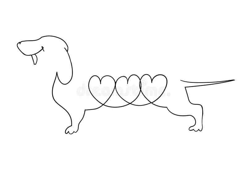 一只达克斯猎犬的原始的线性图象与心脏的 图库摄影