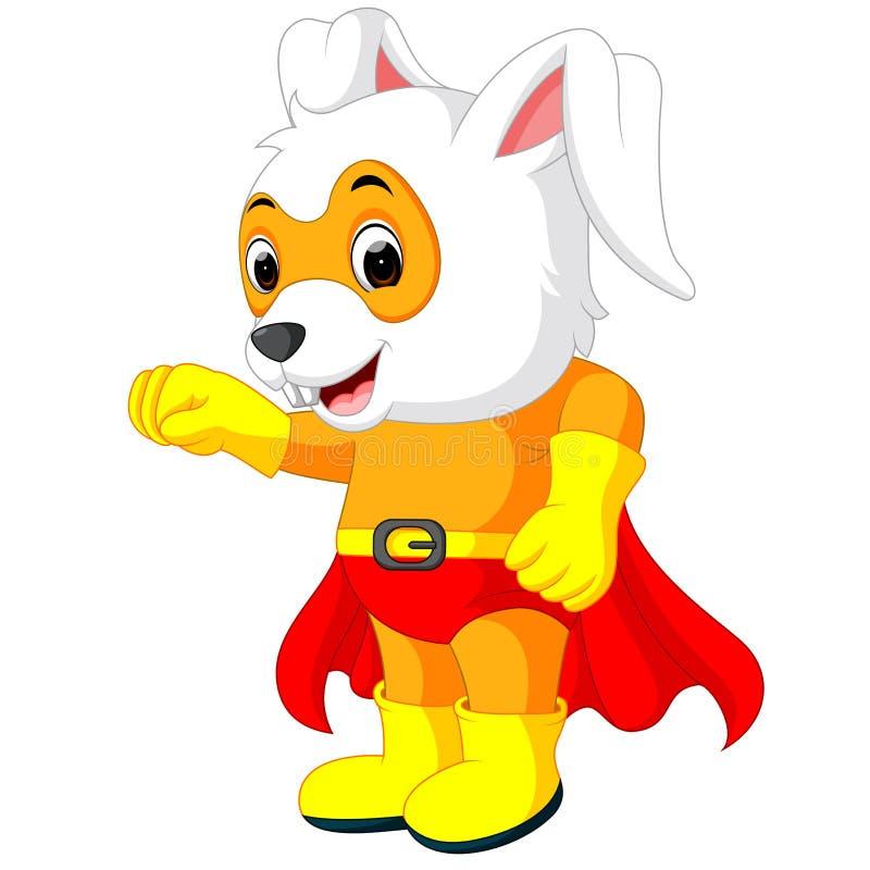 一只逗人喜爱的动画片超级英雄复活节兔子 向量例证