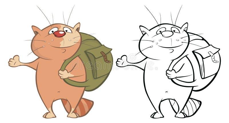 一只逗人喜爱的卡通人物猫的传染媒介例证您的设计和电脑游戏 r 皇族释放例证
