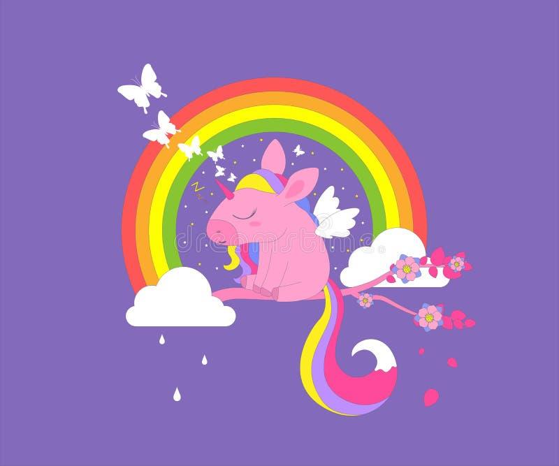 一只逗人喜爱的独角兽在树枝睡觉在云彩的一条彩虹下 向量例证