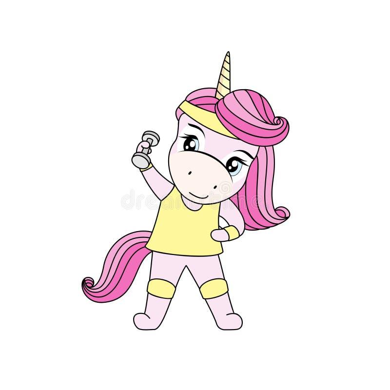 一只逗人喜爱的粉发的独角兽做与哑铃的锻炼 库存例证