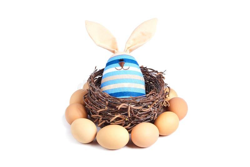 一只镶边兔子的一个软的玩具 免版税库存照片