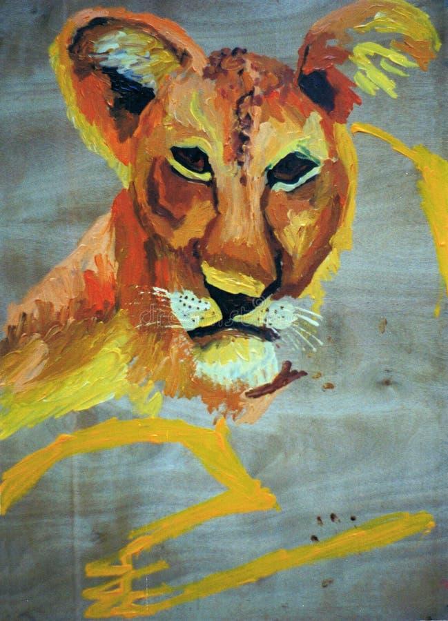 一只雌狮的图画绘画在木头的 库存图片