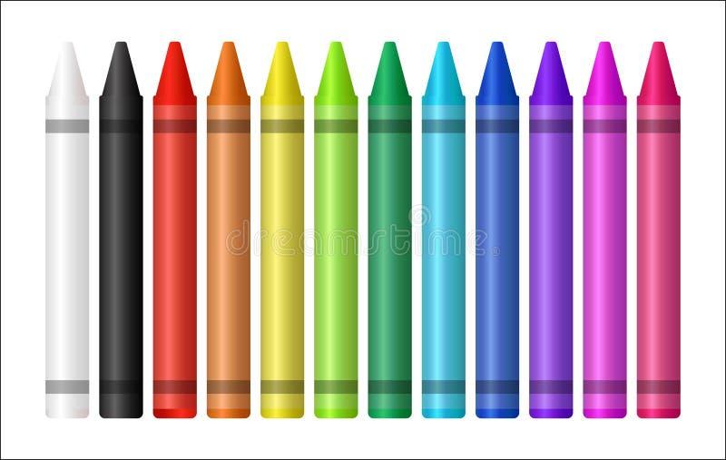 一只颜色蜡笔的套在白色背景的 向量例证
