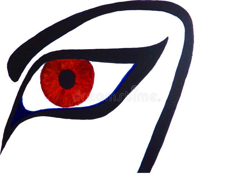 一只风格化眼睛的油画 向量例证
