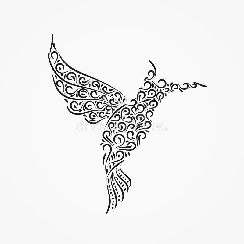 一只飞行哼唱着鸟的剪影从装饰华丽ornam的 库存例证
