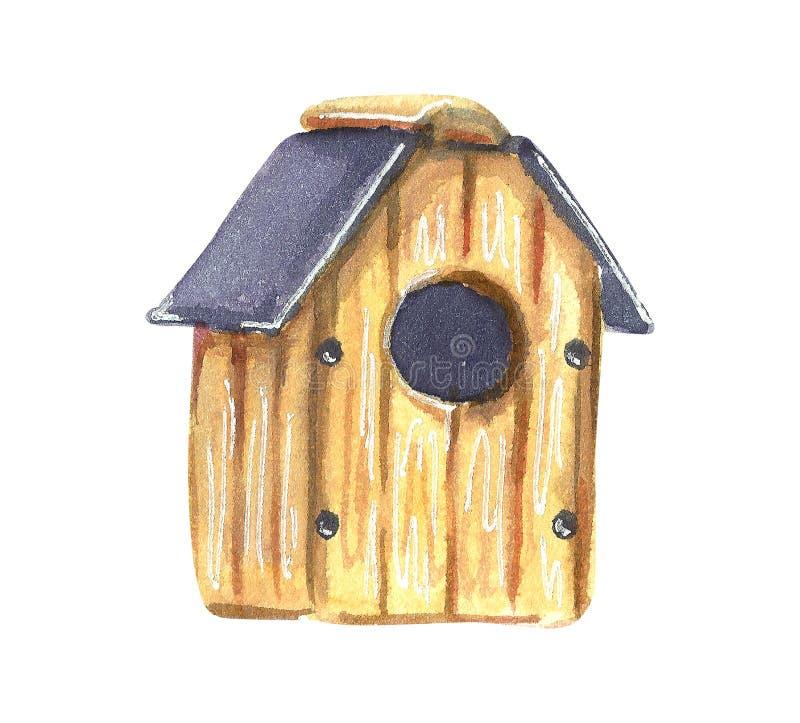 一只鸟的一个小木手工制造嵌套箱在庭院里 库存例证
