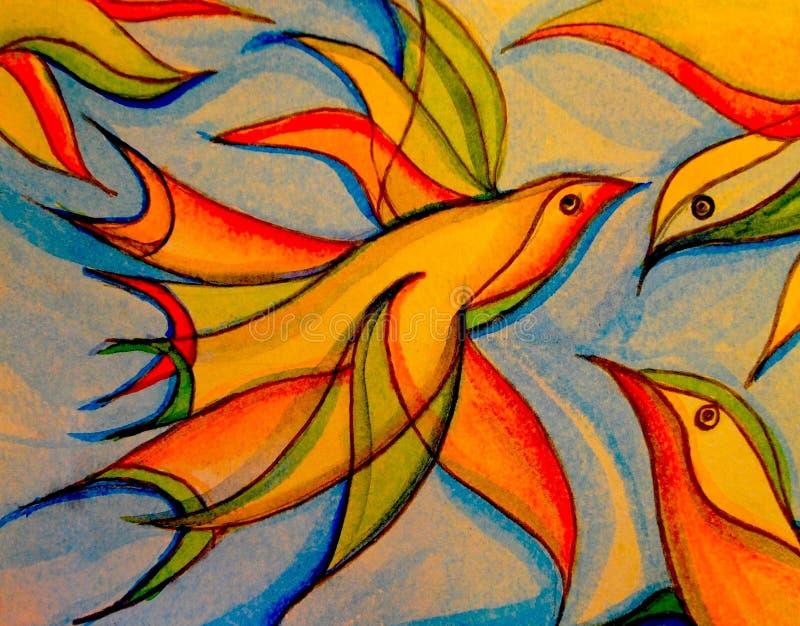 一只鸟的五颜六色的水彩在腾飞对新的高度的行动的 库存照片