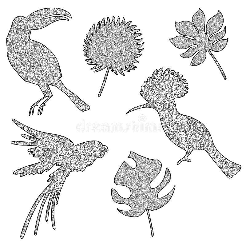 一只鸟的传染媒介例证在zentangl样式的在黑色 Zenart是鸟的一张手工制造图画并且离开与样式 皇族释放例证