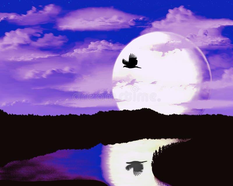 一只鸟的剪影以月亮为背景的 库存例证