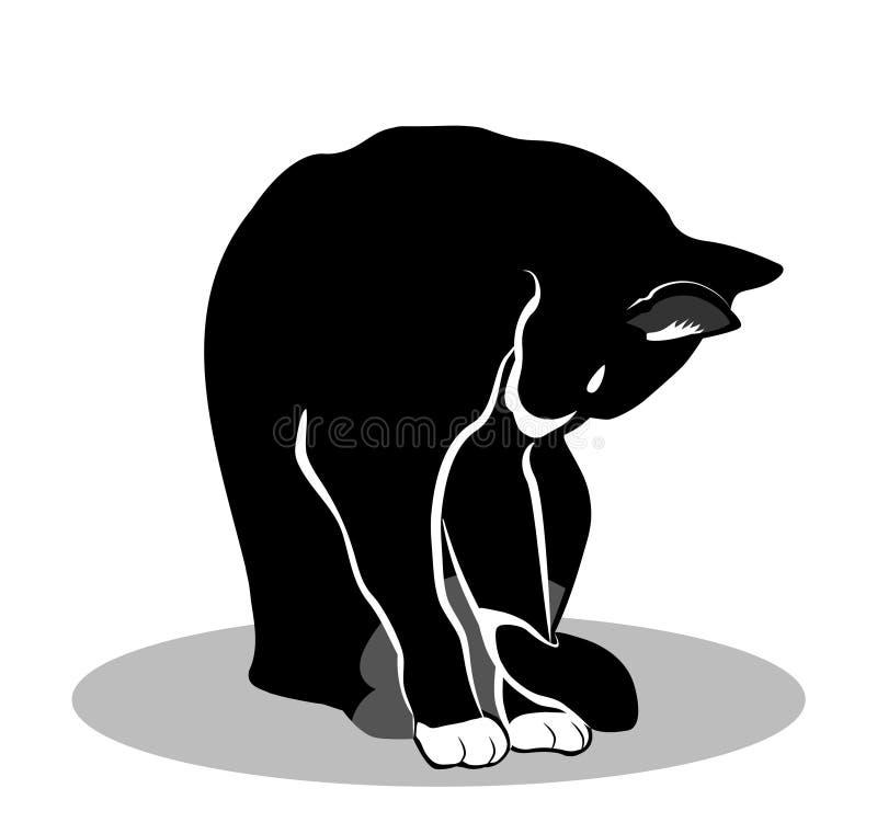一只黑被隔绝的猫的传染媒介剪影坐地板 皇族释放例证