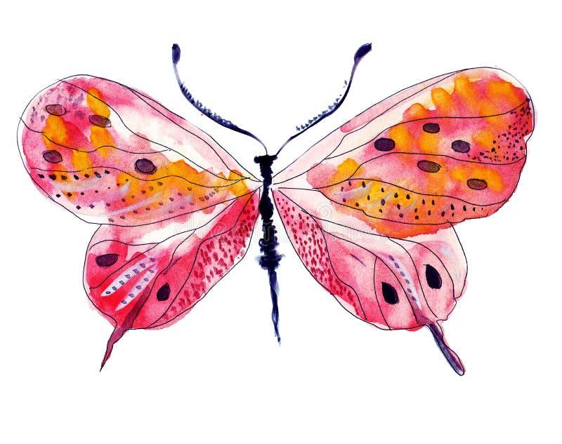 一只蝴蝶的例证剪影与翼的 库存图片