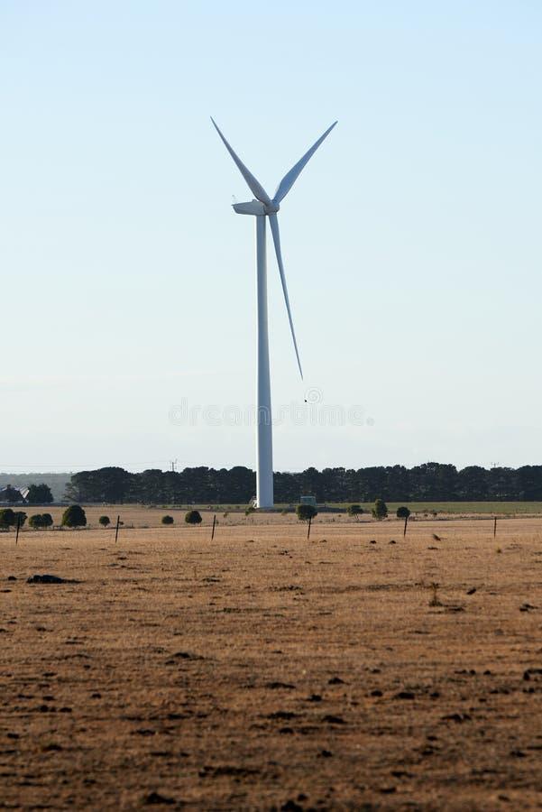 一台唯一风轮机在澳大利亚乡下 免版税库存照片