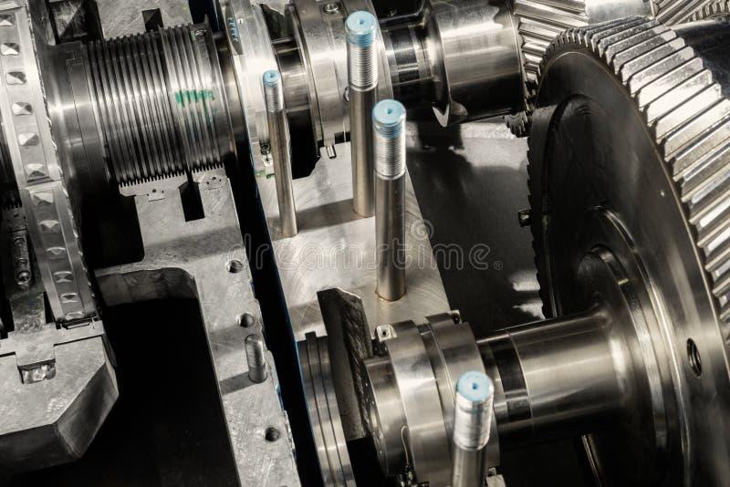 一台小蒸汽机的零件 免版税库存照片