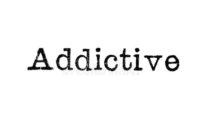 从一台打字机的词`致瘾`在白色 库存例证