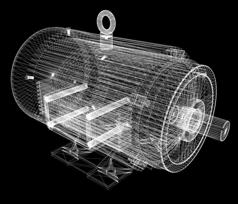 一台电动机的3d模型 库存例证