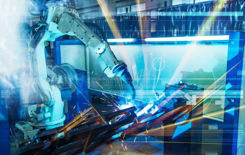 一台蓝色高科技自动机器人操作器 免版税图库摄影
