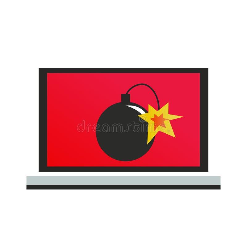 一台计算机用病毒炸弹 向量例证