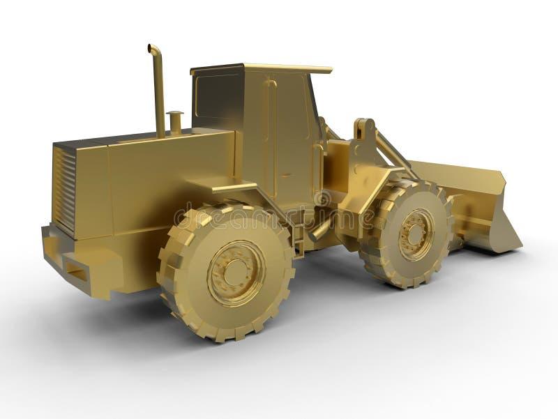 一台金黄推土机的侧视图 库存例证