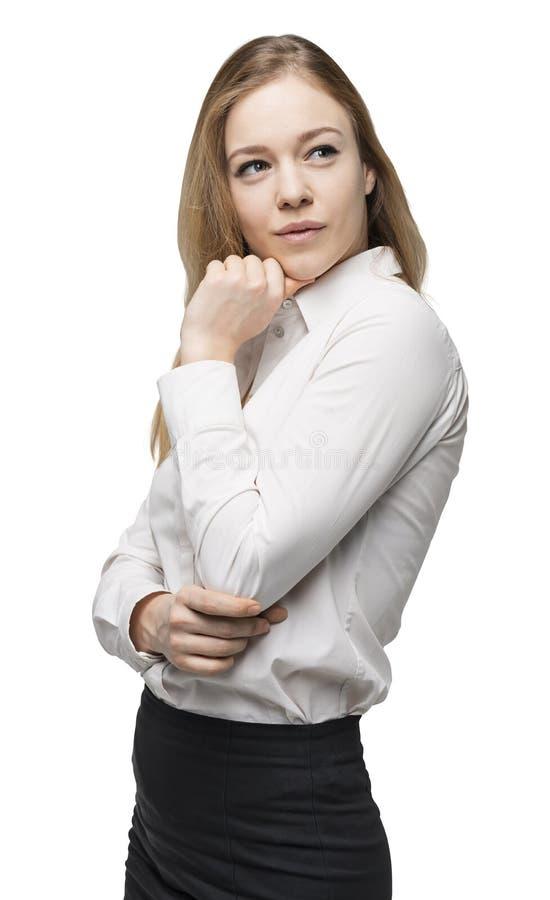 一名体贴的妇女的侧视图 免版税库存图片