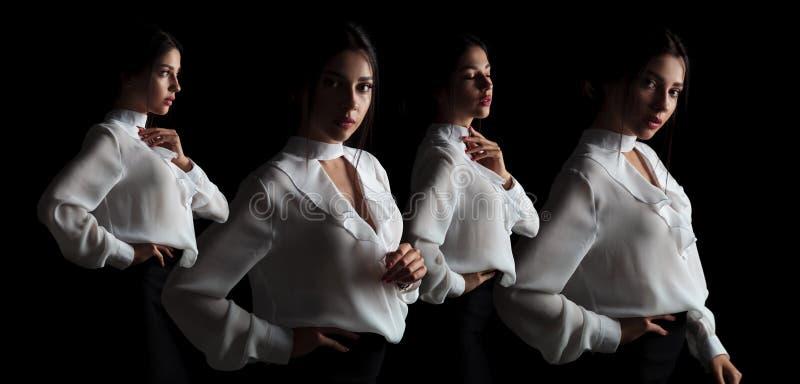 一名典雅的女实业家的四个姿势 免版税库存照片
