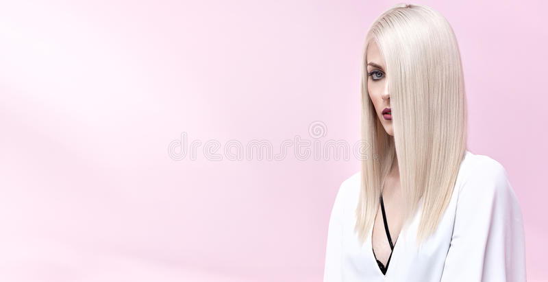 一名典雅的白肤金发的妇女的画象 库存图片