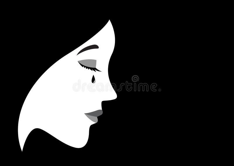 一名哭泣的妇女的例证 向量例证