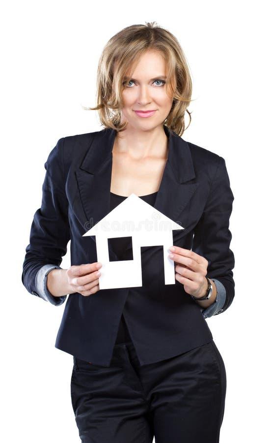 一名女实业家的纵向有房子设计的 免版税图库摄影