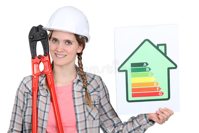 一名女性建筑工人 免版税库存图片