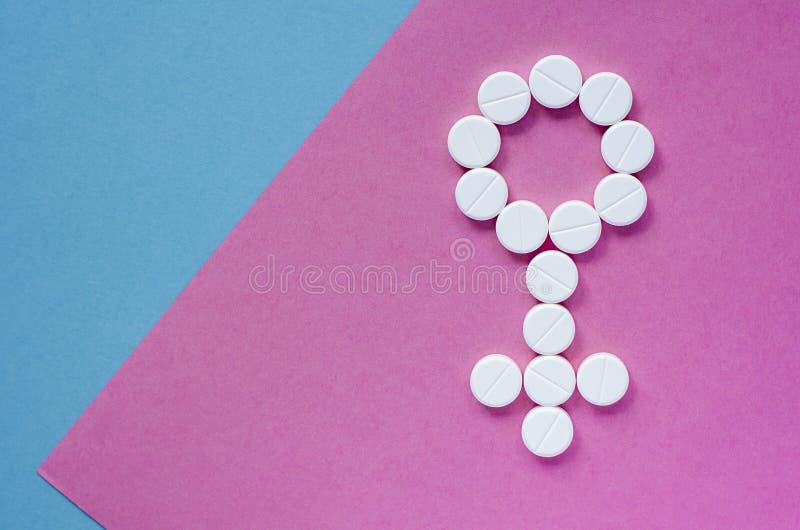 一名妇女的标志从药片的 ?? 免版税库存图片