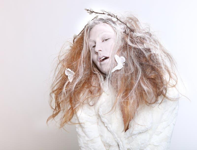 一名妇女的概念精心制作的组成和头发 免版税库存图片