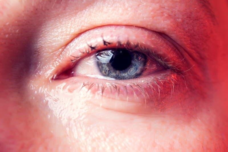 一名妇女的特写镜头蓝眼睛有泪花的 r 免版税库存照片