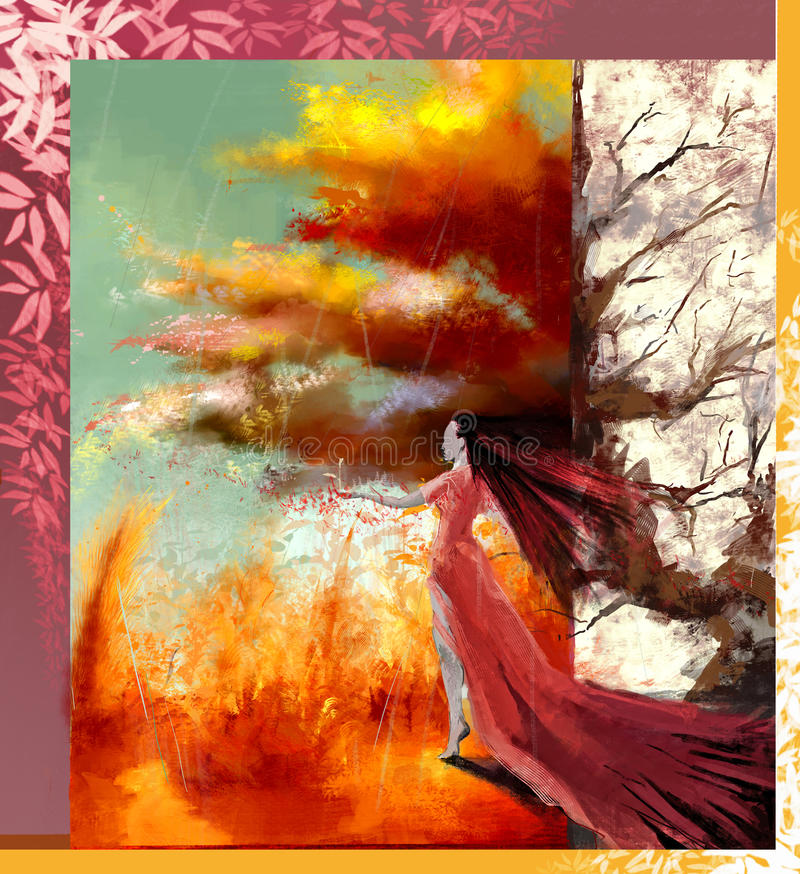 一名妇女的现实/摘要例证有长的头发的和看往全景秋天的长的礼服在h后环境美化, 免版税库存照片
