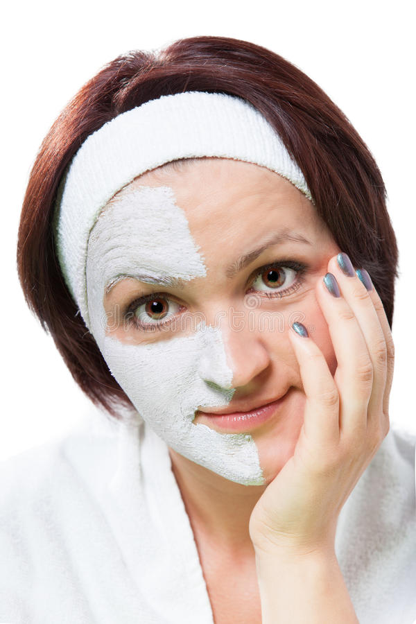 一名妇女的面孔有面具的 库存照片
