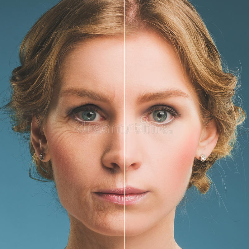 一名妇女的画象在botox前后的 年轻和老面孔 库存照片