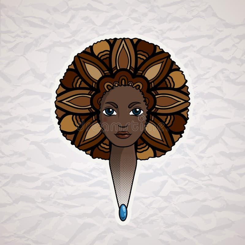 一名妇女的画象有丰富的头发的仿照非洲人样式 向量 皇族释放例证
